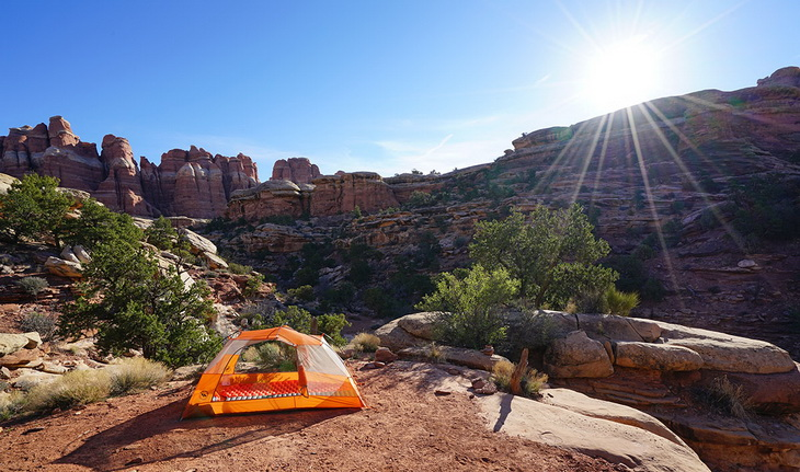 Grand Canyon landscape and Big Agnes Copper Spur HV UL2 tent