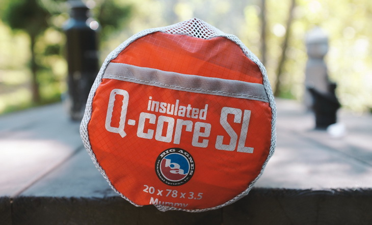 Big Agnes Q-Core sleeping pad on a table in the park