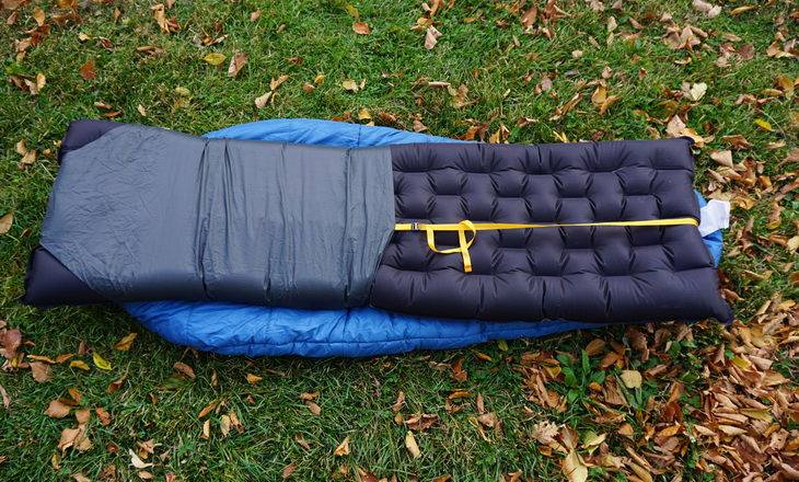 Big Agnes Sleeping Bag and Pad System on the grass outside