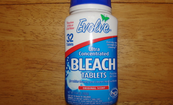 Bleach tablets on the table