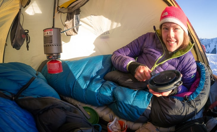 Breakfast in tent on a sunny Winter morning