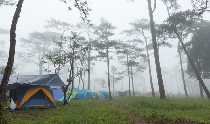 Camping on a rainy day