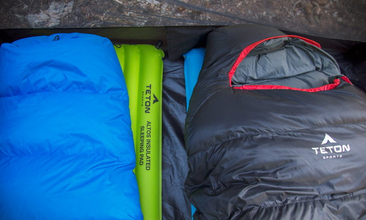 Two TETON Sports Altos sleeping bags in a tent