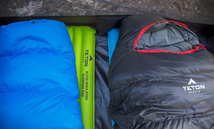 Two TETON Sports Altos sleeping bags in a tent