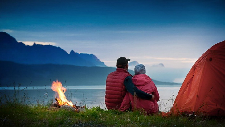 Couple Camping Near Lake