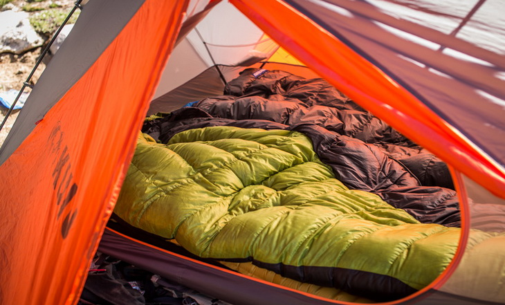 Down sleeping bags in KUIU's Mountain Star tent