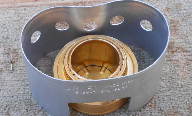 Close-up of Esbit Brass Alcohol Burner