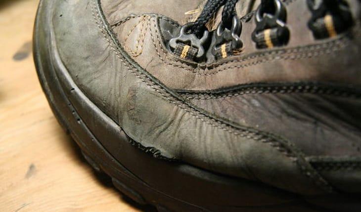 Damaged hiking boot