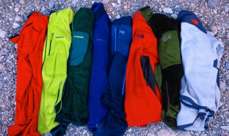 Fleece jacket on the ground with different colours