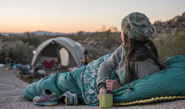 Girl in a sleeping bag