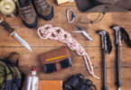 Hiking must haves on a table