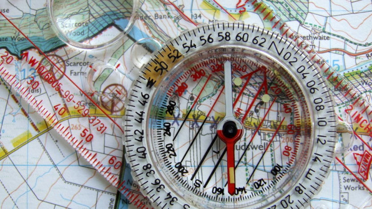 A compass with a map