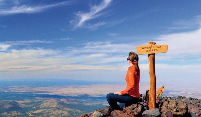 girl sitting on Humphrey's Peak