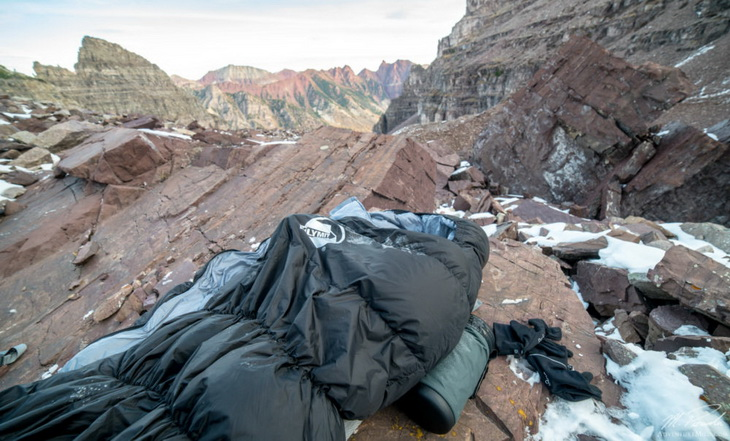 Klymit KSB 20 Sleeping Bag on top of the mountains