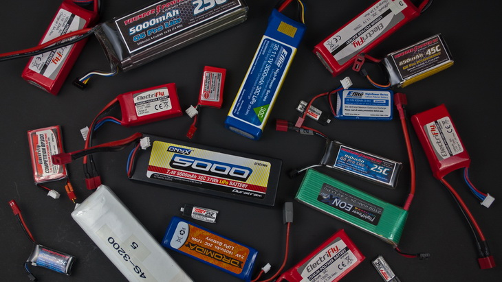 Lipo batteries on a black table