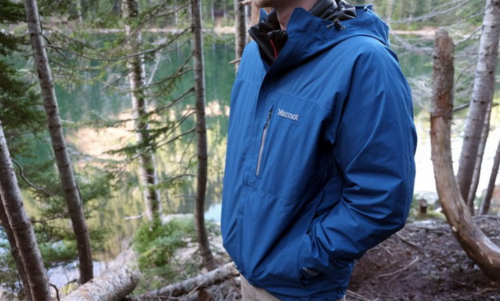 Man Wearing Marmot Precip Rain Jacket