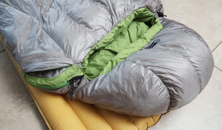 Nemo sleeping bag on a sleeping pag