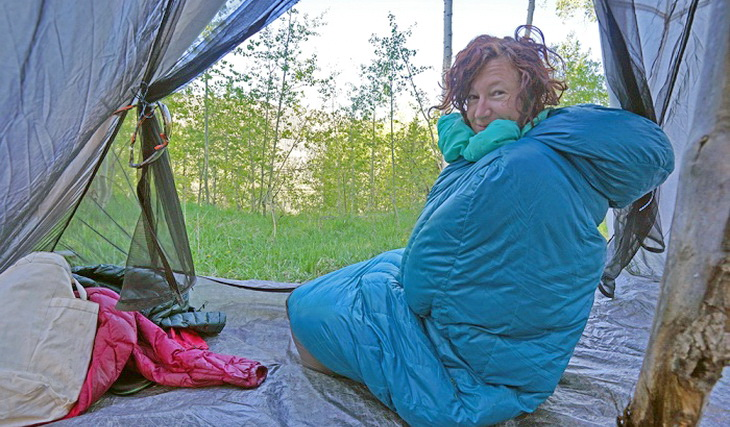 Woman wearing Nemo sleeping bag looking at the camera