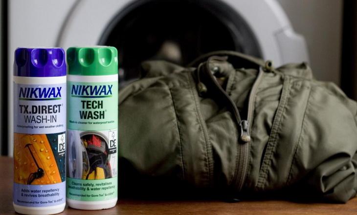Nikwax product near a goretex jacket and a washig machine
