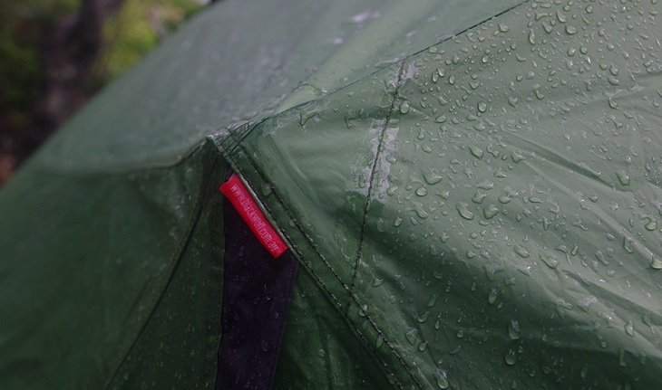 No leaks. While the sealant can easily be seen on the tent, I don't consider it a problem.