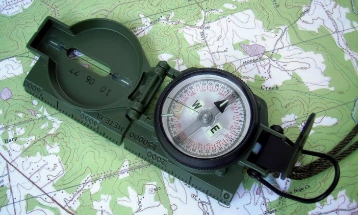 Older-Compass on a map