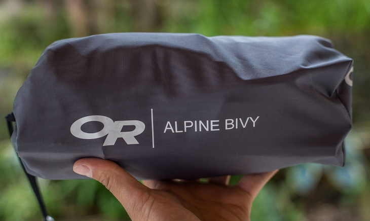 Outdoor Research Alpine bivy packed