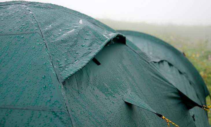 Photo of rain drops on tent