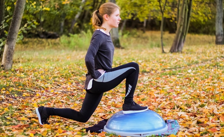 Woman Performing Reverse Lunge on a Bosu Ball Exercise
