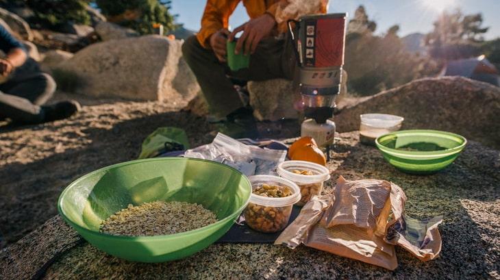 campers having breakfast