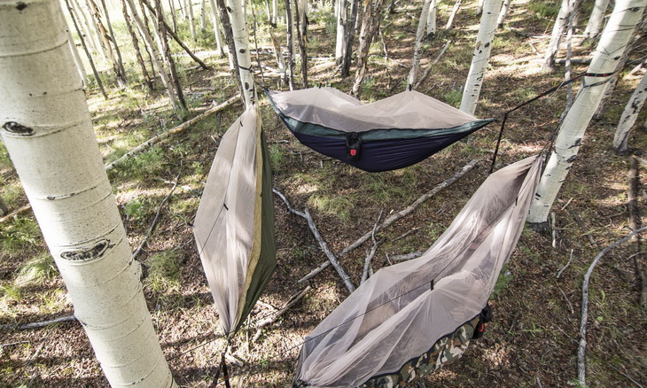 Three hammocks Grand Trunk hanging in the forest