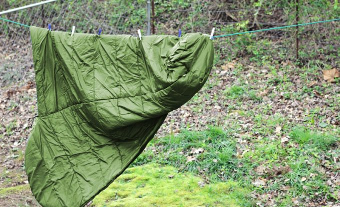 Sleeping bag drying on the clothesline