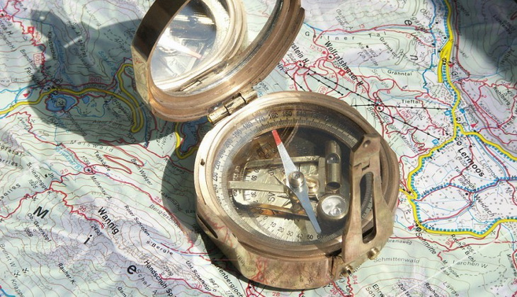 Stanley compass on a map