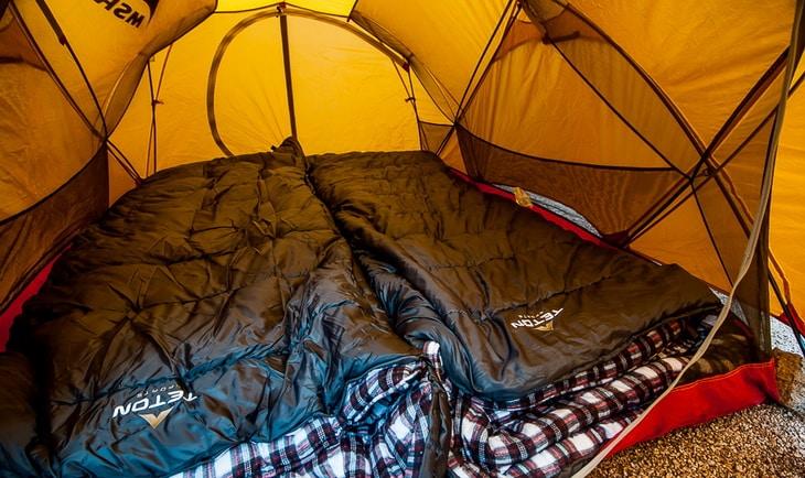Teton Sports Fahrenheit Sleeping Bags in a tent