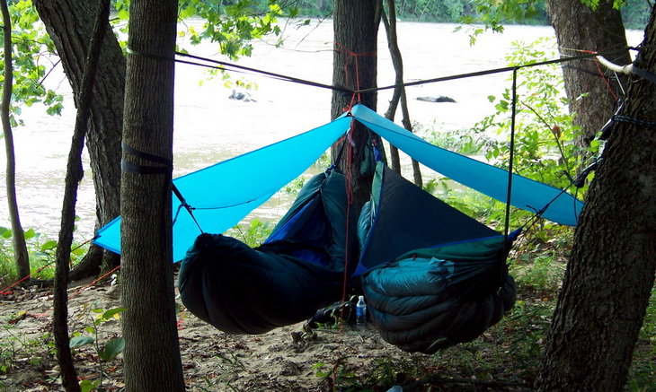 Two hammocks in the campsite