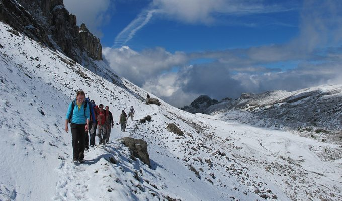 A group of hikers trekking a snowy trail
