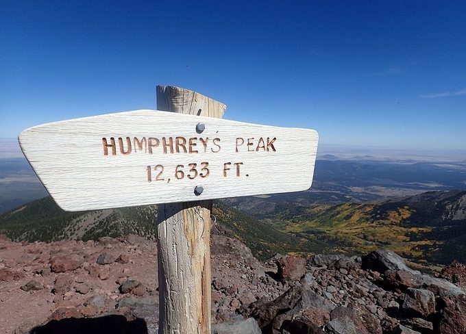 A sign showing the Humphrey's Peak