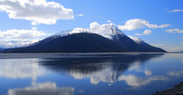 A lake and a mountain in Alaska
