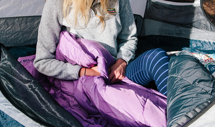 Woman in kelty sleeping bag