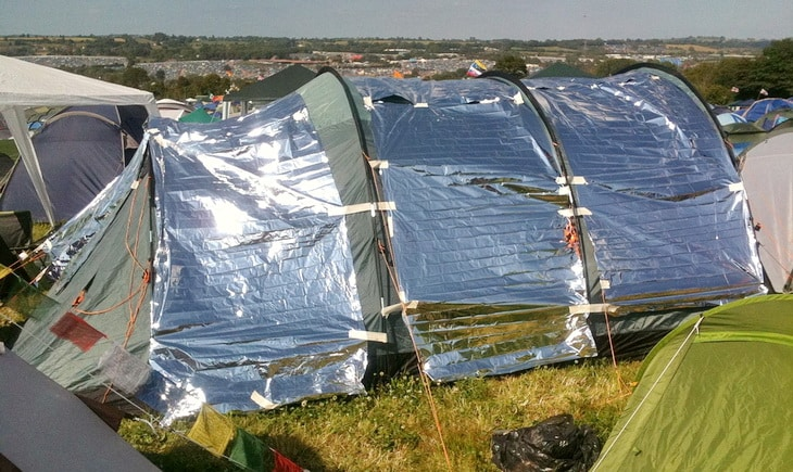 a space blanket on a tent