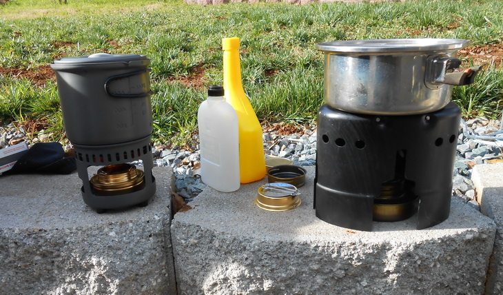 Esbit Brass Alcohol Burner next to other cooking gears