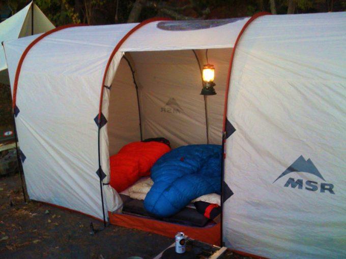 bison sleeping bag in msr tent