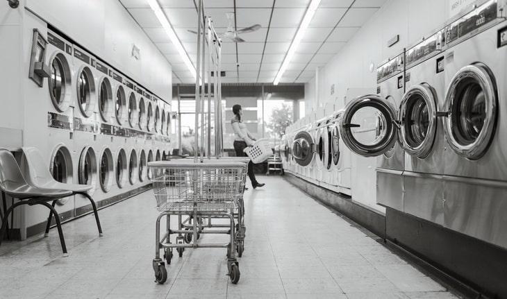 Black and white washing machines