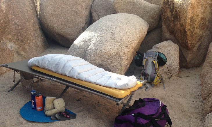 Sea to Summit Spark II Sleeping Bag on a bed outside