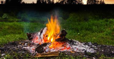 fire burning on sunset