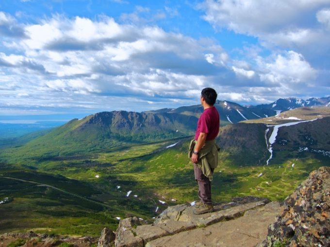 hiker on flattop summit