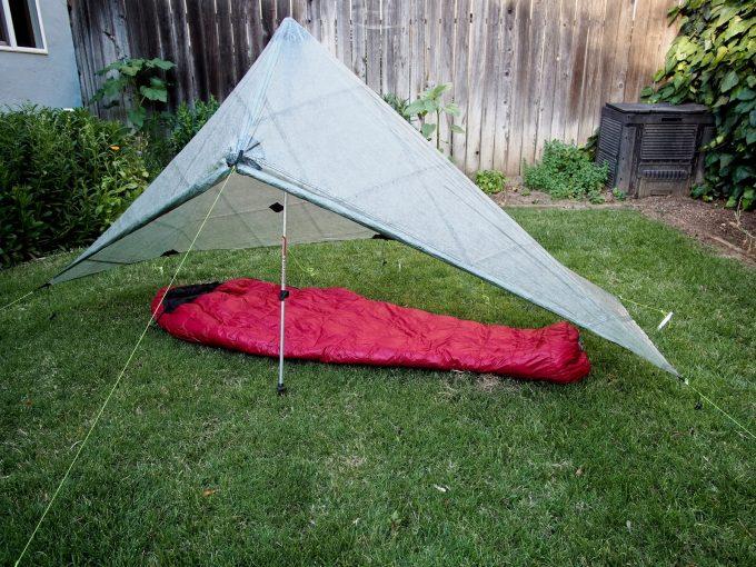 summerlite sleeping bag in garden