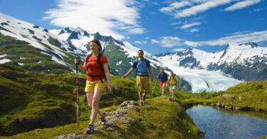 group of people hiking in alaska