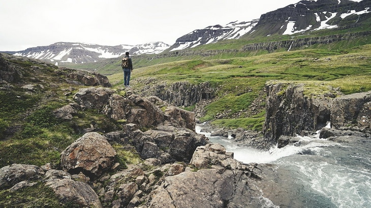 A man backpacking in Iceland