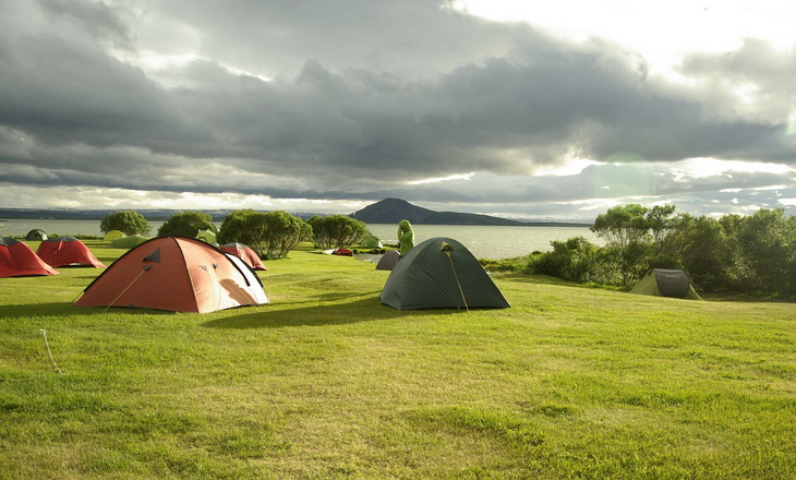 People camping in tents in Iceland