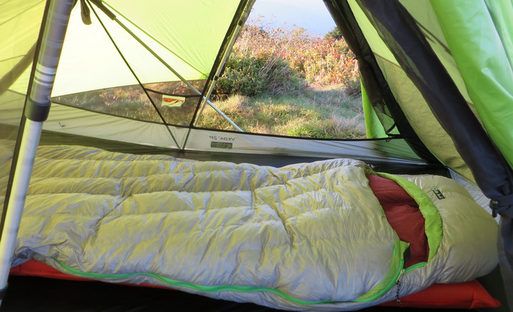 Nemo sleeping bag laying down in a tent